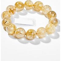 Vòng Tay Phong Thủy Nam Đá Thạch Anh Tóc Vàng (14mm) Mệnh Thổ, Kim Ngọc Quý Gemstones