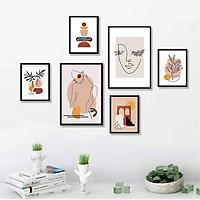 Bộ khung 06 tranh Minimalist tông màu cam nâu hiện đại treo tường, trang trí  phòng khách, phòng ngủ - Tặng set đinh treo tranh chuyên dụng và khung bo ngoài màu đen
