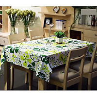 Khăn trải bàn vải bố - Hoa xanh canvas - mẫu P08