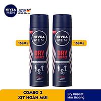 Combo 2 Xịt Ngăn Mùi NIVEA MEN Dry Impact Khô Thoáng 150ml - 81602