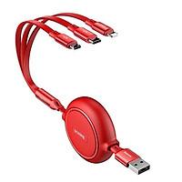 Cáp sạc dây rút 3 đầu Baseus Golden Loop 3 in 1 Elastic (3.5A, Type C/ Lightning/ Micro USB, Adjustable, Data & Fast Charge Cable)- Hàng nhập khẩu