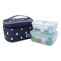 Combo  2 bộ đựng đồ ăn trưa gồm túi giữ nhiệt  +  hộp thủy tinh chia ngăn 1000ml + hộp thủy tinh 695ml Lunch71-100