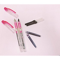 combo 2 bút preppy vỏ hồng thân trong, 2 ống mực tím và 2 piston bơm mực