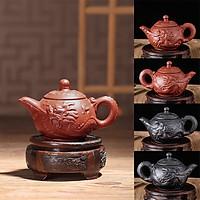 Ấm trà tử sa Nghi Hưng họa tiết ngọa long phụ kiện bàn trà trà đạo