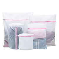 5 PCs Mesh Laundry Bags for Washing Machine Travel Clothes Storage Net Zip Bag for Wash Bra Stocking and Underwear