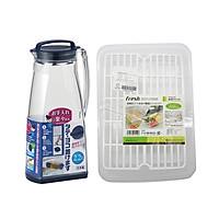 Combo Khay Nhựa Úp Cốc, Ly, Chén + Bình Đựng Nước (2.2L) - Nội Địa Nhật Bản
