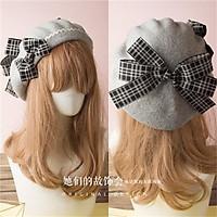 Nhật Bản Lolita Nón Mũ Nồi Pháp Mũ Len Sọc Phối Nơ Lớn Lên Hạt Venonat Cô Gái Nữ Cổ Điển Họa Sĩ Bộ Đội 17 Màu Sắc