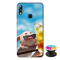 Ốp lưng điện thoại Asus Zenfone Max Pro M2 hình Heo Con Uống Nước tặng kèm giá đỡ điện thoại iCase xinh xắn - Hàng chính hãng