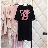 váy thun suông dáng dài cộc tay in chữ studio 23 phom rộng cá tính