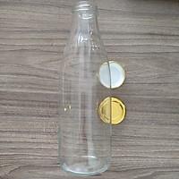 Bộ 2 chai thủy tinh đựng sữa, dung tích 1 lít, nắp thiếc vàng