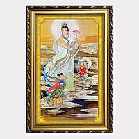 Tranh Phật Quan Âm Bồ Tát Cầm Hoa Sen W606