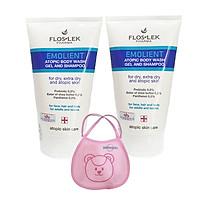 2 tuýp dầu gội và sữa tắm danh cho viêm da cơ địa Floslek Atopic Shower Body Wash Shapoo 150ml + tặng 1 yếm trẻ sơ sinh