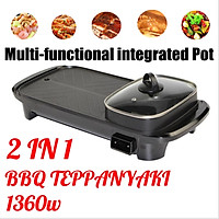 AUGIENB Electric Barbecue Grill Oven Pan Machine Multifunction Hot Pot Baking Pan Non-stick Frying Machine