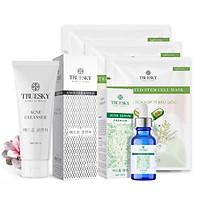 Bộ ngừa mụn da mặt Truesky Premium M02 gồm 1 serum ngừa mụn tràm trà 20ml + 1 sữa rửa mặt than hoạt tính 60ml + 3 miếng mặt nạ tế bào gốc Truesky