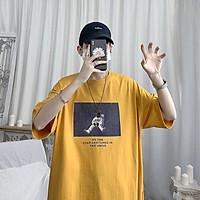 3 Color【M-3XL】Fashion Short Sleeve T-shirt Men Printed Astronaut Graphic Breathable Oversize Student Couple Short T-shirt Couple Wear Unisex Half Sleeve T-shirt Summer New Style