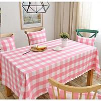 Khăn trải bàn vải bố - Caro hồng trắng to - mẫu N01
