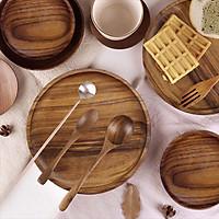 Đĩa gỗ óc chó tự nhiên nguyên khối màu nâu hình tròn đựng trà bánh đồ ăn đĩa gỗ decor phụ kiện phòng ăn