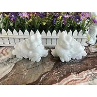 Cặp Tỳ Hưu phong thủy đá cẩm thạch trắng - Dài 15 cm