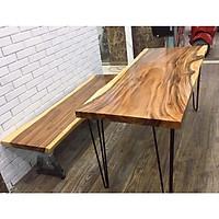 Bộ bàn ăn, bàn trà gỗ me tây nguyên tấm gồm 1 bàn và 1 ghế