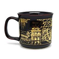 Cốc cà phê Đại Hà Nội  Đông Gia-màu men hỏa biếnĐông Gia-màu men hỏa biến  tự nhiên Đen bóng mạ vàng