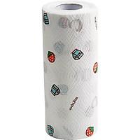 Cuộn giấy lau đa năng nhà bếp 80 tờ in hình cao cấp, có thể giặt được - Tặng 1 khăn lau tay cao cấp
