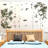 Decal dán tường phòng ngủ phong thủy PHONG CẢNH THIÊN NHIÊN tre xanh