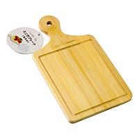 Thớt mini chữ nhật có tay cầm,chất liệu gỗ tre thiên nhiên, thiết kế đường rãnh ngăn tràn nước,  kích thước 20 x 11 x 0.8 cm, thích hợp cho việc cắt thực phẩm hoặc bày trí món ăn, hàng chính hãng Nhật