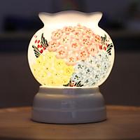 Đèn xông tinh dầu hoạ tiết hoa cẩm tú cầu Kepha. Sứ men trắng cao cấp