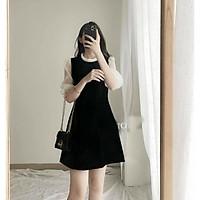 váy dáng xòe cổ bèo phối tay voan bồng chất umi trẻ trung nữ tính