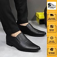 Giày tây nam da thật, tăng chiều cao 6-7cm, đế cao su nguyên tấm chống trơn Lê Sang