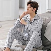 Đồ bộ PIJAMA Nam dài tay họa tiết sọc Caro, chất Cotton 100%, hàng cao cấp style Hàn Quốc thời thượng