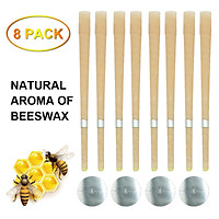 Natural Beeswax Candle Sconces Aromatherapy Pure Beeswax Ear Wax Candle Kit (8 Ear Candles with 4 Ear Protective Disks)