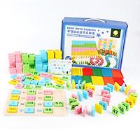 Đồ Chơi Gỗ Bộ 100 Domino Học Toán Cho Bé + Tặng Kèm Que Tính