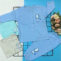 Combo 3 bộ áo quần sơ sinh tay dài cài nút giữa màu THT-TomTom Baby, chất vải cotton 100% mềm, mịn,