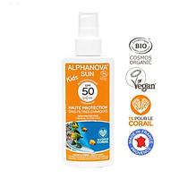 Kem chống nắng hữu cơ trẻ em dạng xịt SPF50 Alphanova Sun Kids 125g - Nhập khẩu chính hãng từ Pháp