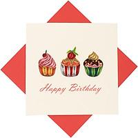 Thiệp Chúc Giấy Xoắn Thủ Công (Quilling Card) Chúc Mừng Sinh Nhật Bánh Kem - Tặng Kèm Khung Giấy Để Bàn