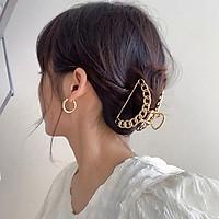 Kẹp tóc sau kim loại viền hoa văn trang trí tóc phong cách Vintage
