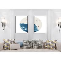 Tranh treo tường phòng khách, phòng ngủ -Tranh treo bộ 2 tấm dọc M26587/ Gỗ MDF cao cấp phủ kim sa/ Chống ẩm mốc, mối mọt/Bo viền góc tròn