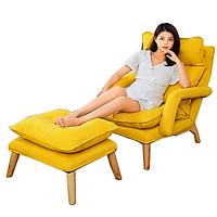 Ghế thư giãn đọc sách, ghế lười tựa lưng khung kim loại chắc chắn vải lanh nằm thoáng mát dễ dàng vệ sinh - A04