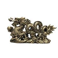 Tượng đá trang trí rồng - màu nhũ vàng