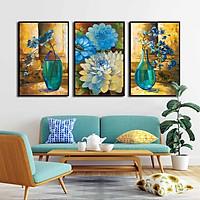 Bộ 3 tranh canvas treo tường Decor bình hoa cách điệu màu xanh tím - DC049