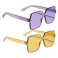 2PCS Women One Piece Sunglasses Rimless Summer UV400 Designer Eyeglasses