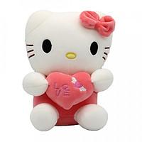 Gấu bông Hình Mèo Hello Kitty Ôm Tim 20cm - Họa Tiết Ngẫu Nhiên