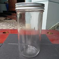 Set 6 hũ thủy tinh tròn nắp nhôm miệng rộng 600ml đựng thực phẩm, bánh flan, sữa chua
