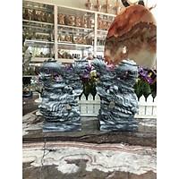 Cặp Rồng đứng phong thủy đá cẩm thạch vân đen - Cao 20 cm