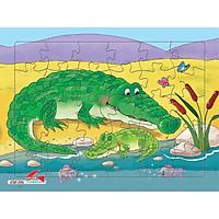 Xếp hình Tia Sáng Cá sấu  (30 Mảnh Ghép) - Tặng kèm tranh tô màu cho bé