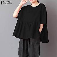 ZANZEA Women Casual Plus Size O Neck Loose Top Tee T Shirt Tunic Blouse