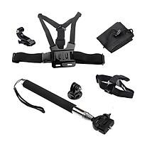 Bộ Phụ Kiện Camera gậy selfire, đai đeo ngực, đai đeo đầu, kẹp mũ, túi cho camera thể thao, camera hành trình SJCAN, GoPro, Eken