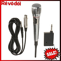 Micro karaoke không dây,  Free ship Mic hát karaoke không dây kết hợp có dây AK 308 cao cấp chống hú