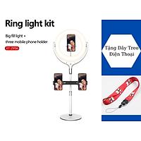 Giá Đỡ 2 Điện Thoại Có Đèn Led LiveStream, Kẹp Smartphone Để Bàn Quay Video Led 3 Màu - Hàng Chính Hãng